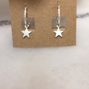 Sterling silver plated hoops with stars NWT